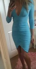 Bnwt progress sexy sky blue size 12 ruched mini dress long sleeve party summer
