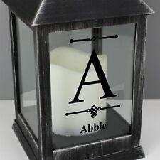 Personalised Rustic INITIAL Black Lantern LED Candle Birthday Christmas Gift