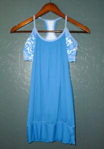 LULULEMON Athletic Tank Top Shirt NO LIMITS Blue w Floral Shelf Bra Yoga Run 4