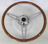 "Chevelle Camaro Nova Impala GT 9 hole wood steering wheel Red/Black Center 15"""