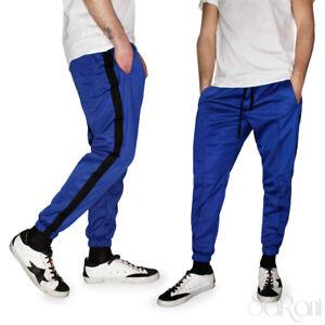 Pantaloni Tuta Sportivo Laccetti Blu  Poliestere 3 Tasche Casual Riga Nera Uomo