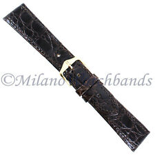 20mm Hirsch Brown Genuine Certified Crocodile Stitched Turned Edge Mens Band Reg
