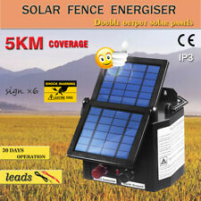 New Solar Power Electric Fence Energiser Charger 5km 0.15J For Goats Cattle