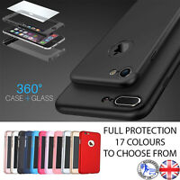 Hybrid 360° Hard Ultra thin Case Tempered Glass Cover for iPhone 5SE 6S 6 7 PLUS
