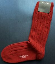 Hackett Mayfair Mens Scottish Socks 95% Cashmere Cable Red Med UK 7-9 HMU50260