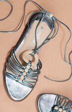 NIB Farylrobin blue Metallic Leather Lace Up Strappy Sandals 9