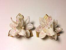 Christmas Flower Poinsietta Post Earrings White Gold Toned