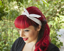 White Chiffon Hairband Retro 50's Rockabilly hair tie W/ small end