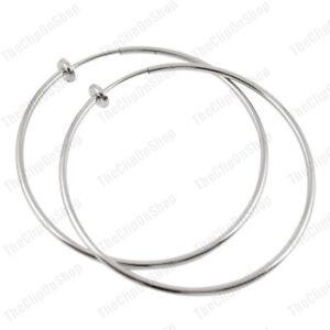 CLIP ON 6cm SILVER TONE POLISHED hoops HOOP EARRINGS look pierced FASHION 60mm