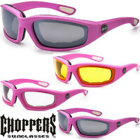 CHOPPERS Womens Pink Motorcycle Sunglasses Riding Biker Padded glasses UV400 new