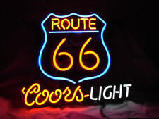 """18""""x16""""Historic ROUTE 66 COORS LIGHT Neon Sign Light Beer Bar Pub Wall Display"""