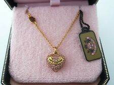 Auth Juicy Couture Wish Pave Heart Necklace Gold Tone Pink Stone $48