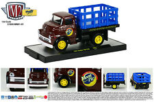 M2 MACHINE 1:64 SCALE DIECAST METAL BROWN 1957 DODGE 700 COE STAKE BED TRUCK