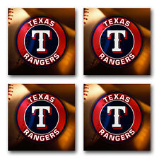 Texas Rangers Baseball Rubber Square Coaster set (4 pack) SRC2027