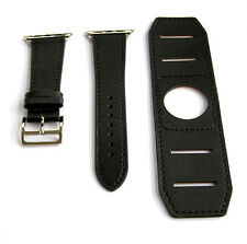 Black Genuine Leather Cuff Watchband Strap Bands Made For 42mm Apple iWatch 2