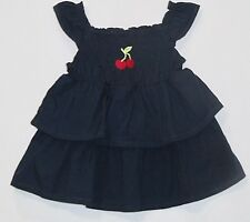 """Gymboree """"Cherry Cute"""" Red Cherry Smocked Tiered Ruffled Navy Blue Swing Top, 3T"""