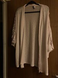 Womens H&M Pink Lace Sleeve Kimono Size XL PLUS SIZE