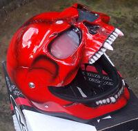 Motorcycle Helmet Skull Monster Death Red Visor Flip Up Ghost Rider Full Face