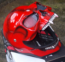Motorcycle Helmet Skull Monster Death Red Visor Flip Up Ghost Rider Full Face