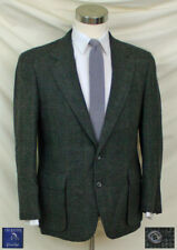 (40S) Great Black & Green H-Tooth Tweed Jacket / Burgundy Stripes / Patch Pkts