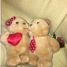 Rare HTF BOY GIRL Couple BEARS Roses Flowers Behind Back VALENTINE GIFT PLUSH