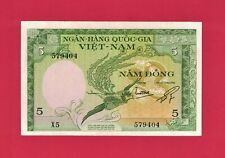 New listing Scarce South-Vietnam Aunc Note: Five 5 Dong 1955 (P-2a) 1st Issue, Animals Fauna