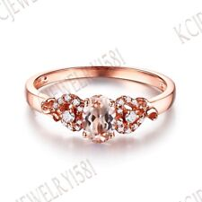 Solid 10K Rose Gold Gemstone Pink Morganite Natural Diamond Jewelry Unique Ring