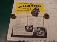 original Vintage 1955 Geiger Counter ad sheet: NUCLIOMETER DR-299 & Bismuth