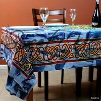 Cotton Batik Celtic Circle Wheel Of Life Tablecloth Rectangle Blue Red Yellow