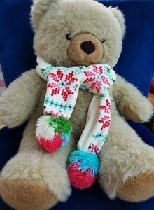Gap Kids girls scarf, cream fleece with pink blue green pom poms scandi /nordic