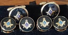 Gold Square & Compass on black full cuff link and button Studs set round