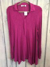 Cato Womens Size Medium Shirt Tunic Long Sleeve Purple Stretchy Burnout Fab