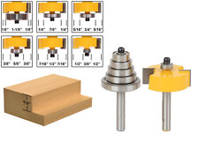 "Rabbet Router Bit with 6 Bearings Set -1/2""H - 1/4"" Shank - Yonico 14705q"