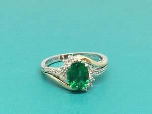 Sterling Silver & 10K Yellow Gold Lab Created Emerald & White Diamond Ring