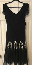 S.L. Fashions Black Embroidered Beaded Dress Size 12 Nwt