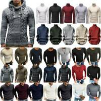 Mens Winter Knitwear Long Sleeve Chunky Knitted Warm Jumper Pullover Sweater Top