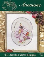 "XSTITCH MATERIALS DEW DROP ""ANEMONE"" by JEANETTE CREWS #1209 OCT. 2000"