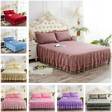 Romantic Lace Bed Skirt Pillowcases Solid Color Bed Sheet Bedding Bedroom