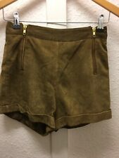 Topshop Beige Tan Leather Shorts Hotpants Uk 6 Usa 2 Eur 34