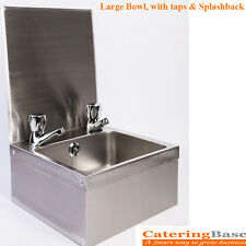 Stainless Steel Kitchen HAND WASH SINK BASIN WITH TAPS & SPLASHBACK LARGE BOWL