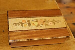 Vintage Italian Jewellery Music Box Inlaid Wood Marquetry Mapsa Torna A Sorrento
