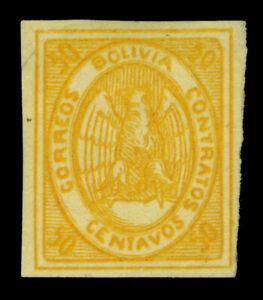 BOLIVIA  1867  CONDOR  50c orange  Scott # 5 mint MH VF