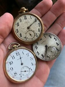 Estate Antique Pocket Watch Movement Lot. 2 Illinois, Waltham!! NR