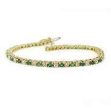 "4.75 Ct Round Cut Emerald & Diamond 14k Yellow Gold Fn Tennis Bracelet 7.5"" Inch"