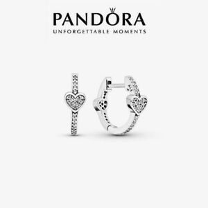 Genuine Pandora Sterling Silver Pavé Heart Hoop Earrings 297290CZ With Pouch