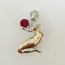 New Greek Sun God Helios European StyleRed Gold Crystals Brooch Pin BR1006A