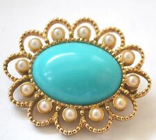 Yyvintage Brooch PIN Antique Turquoise Glass Pearls Oval Sarah Coventry Art DECO
