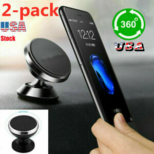 2PC Universal 360° Magnetic Car Mount Cell Phone Holder Stand For iPhone Samsung