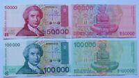 CROACIA 50.000 y 100.000 dinara 1994. Picks 26a y 27a. Plancha UNC.