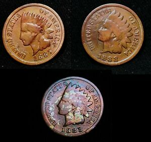 3 1888 1888 1887 Indian Head Cent Penny Rainbow Tone G+ VG Combined Shipping sr